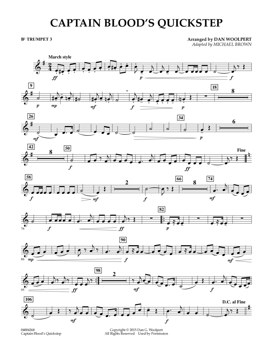 Captain Blood's Quickstep - Bb Trumpet 3