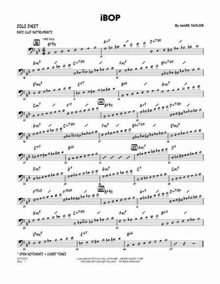 iBop - Bass Clef Solo Sheet