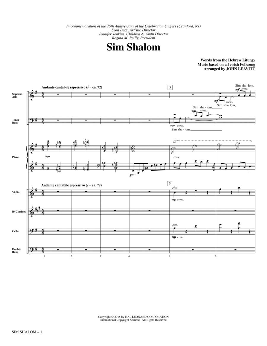 Sim Shalom - Full Score