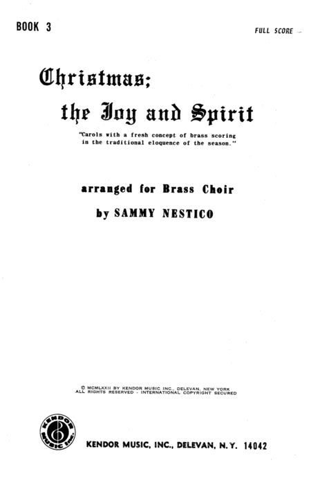 Christmas; The Joy & Spirit- Book 3/Full Score