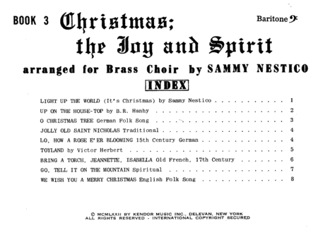 Christmas; The Joy & Spirit - Book 3/Baritone BC