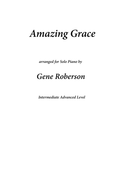 Amazing Grace Concert Piano Arrangement