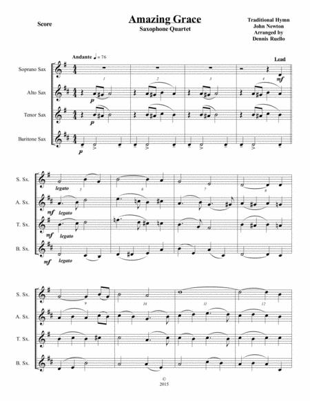 Amazing Grace - Saxophone Quartet - Jazz Funeral Style - SATB or AATB