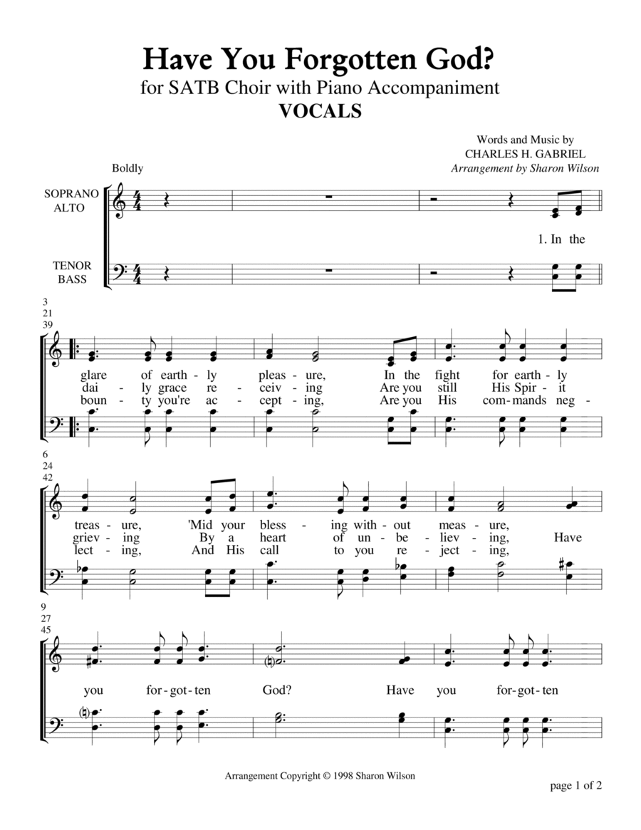 Have You Forgotten God? (for SATB Choir with Piano Accompaniment)
