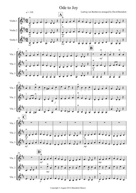 Ode to Joy for Violin Trio