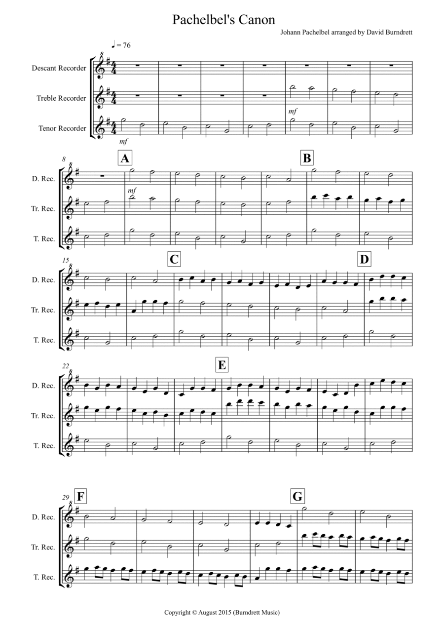 Pachelbel's Canon for Recorder Trio
