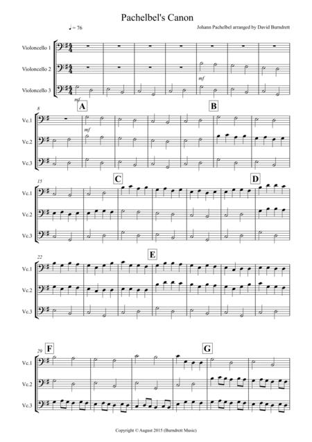 Pachelbel's Canon for Cello Trio
