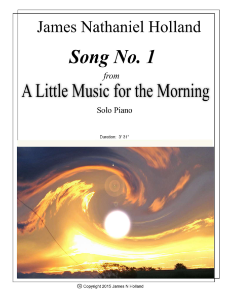 Song No 1 from A Little Music for the Morning for Solo Piano
