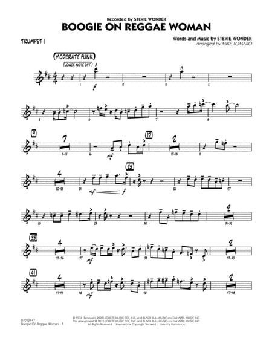 Boogie On Reggae Woman - Trumpet 1
