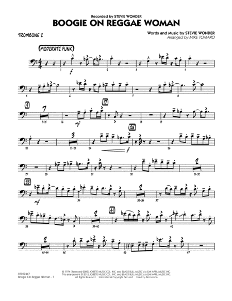 Boogie On Reggae Woman - Trombone 2