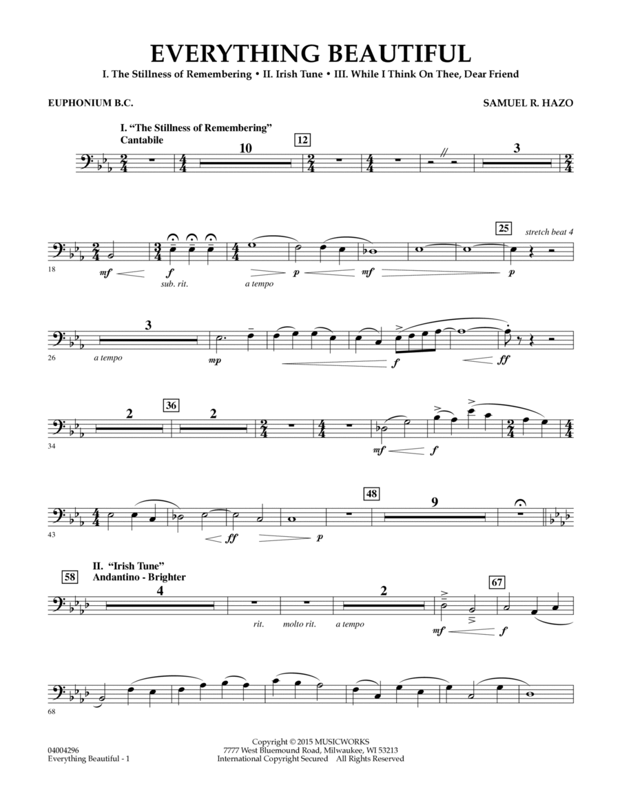 Everything Beautiful - Euphonium in Bass Clef