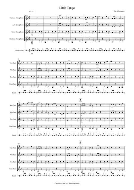 Little Tango for Beginning Saxophone Quartet
