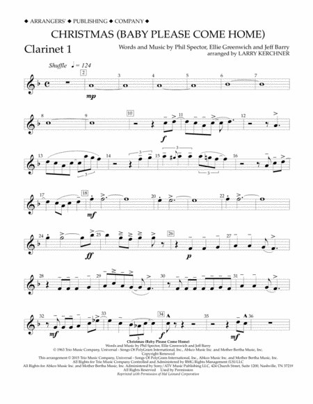 Christmas (Baby Please Come Home) - Bb Clarinet 1