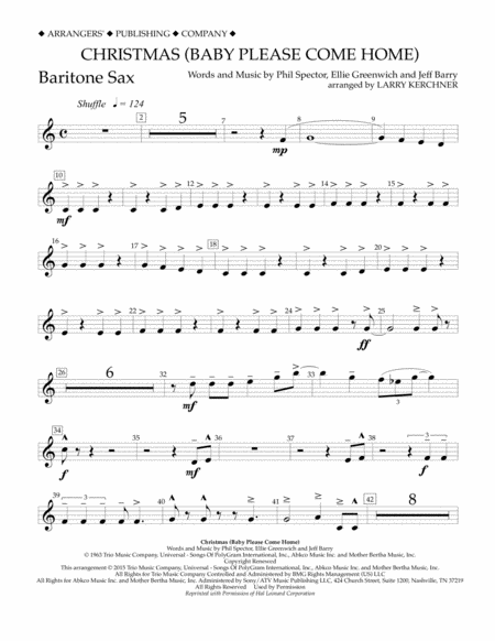 Christmas (Baby Please Come Home) - Eb Baritone Saxophone