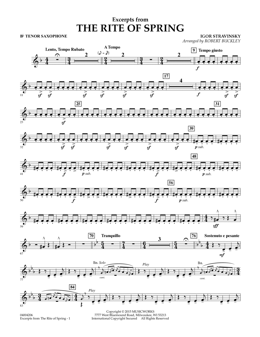 Excerpts from The Rite of Spring - Bb Tenor Saxophone