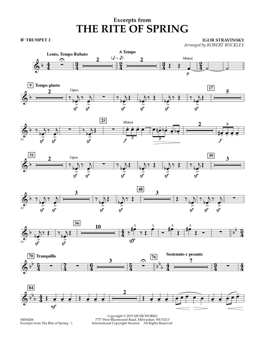 Excerpts from The Rite of Spring - Bb Trumpet 2
