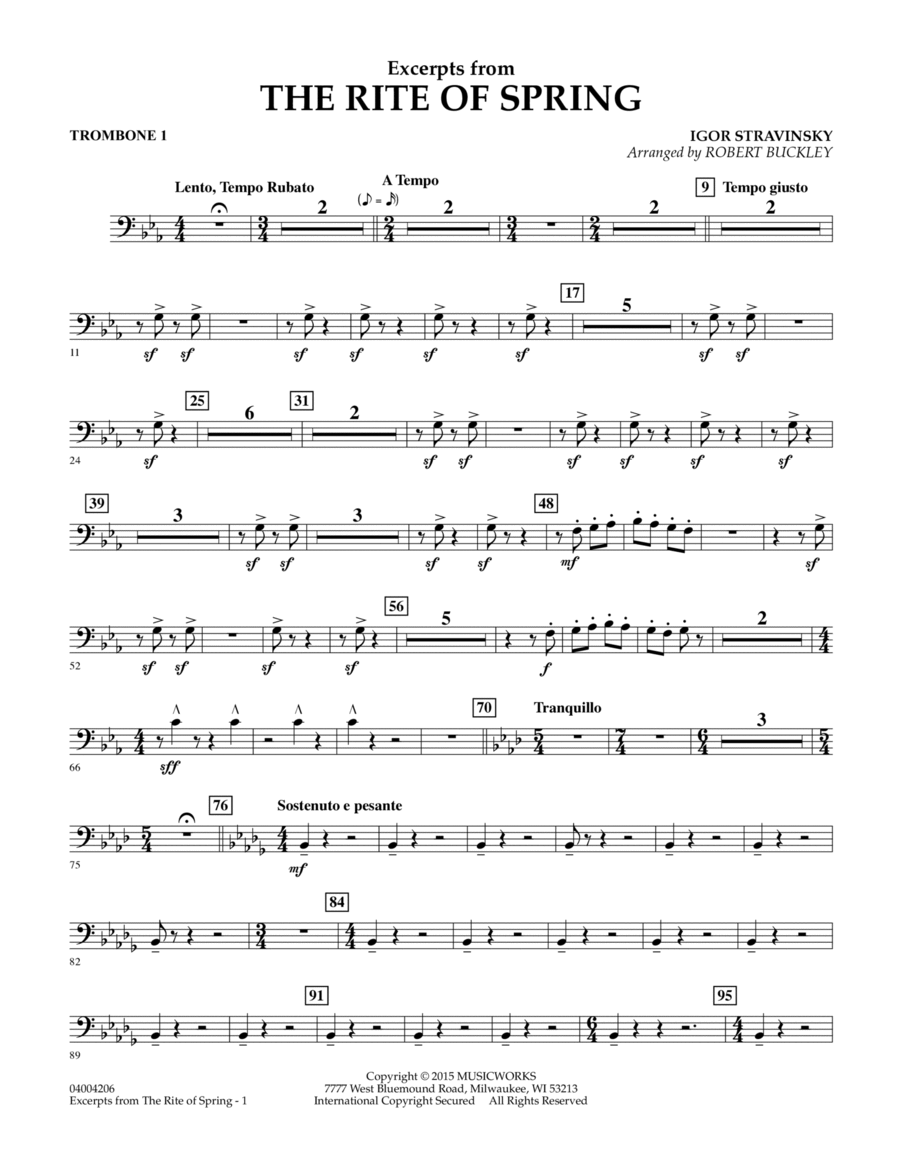 Excerpts from The Rite of Spring - Trombone 1