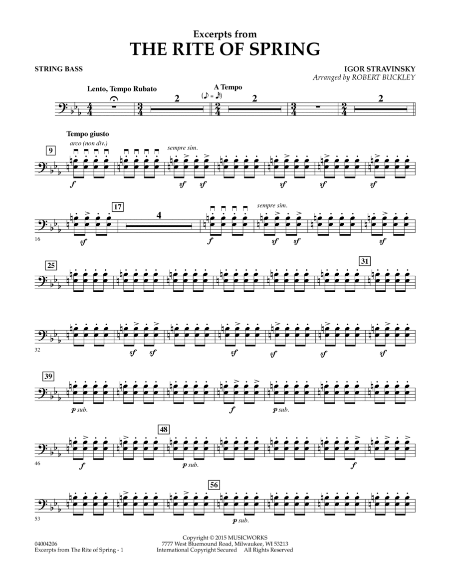 Excerpts from The Rite of Spring - String Bass