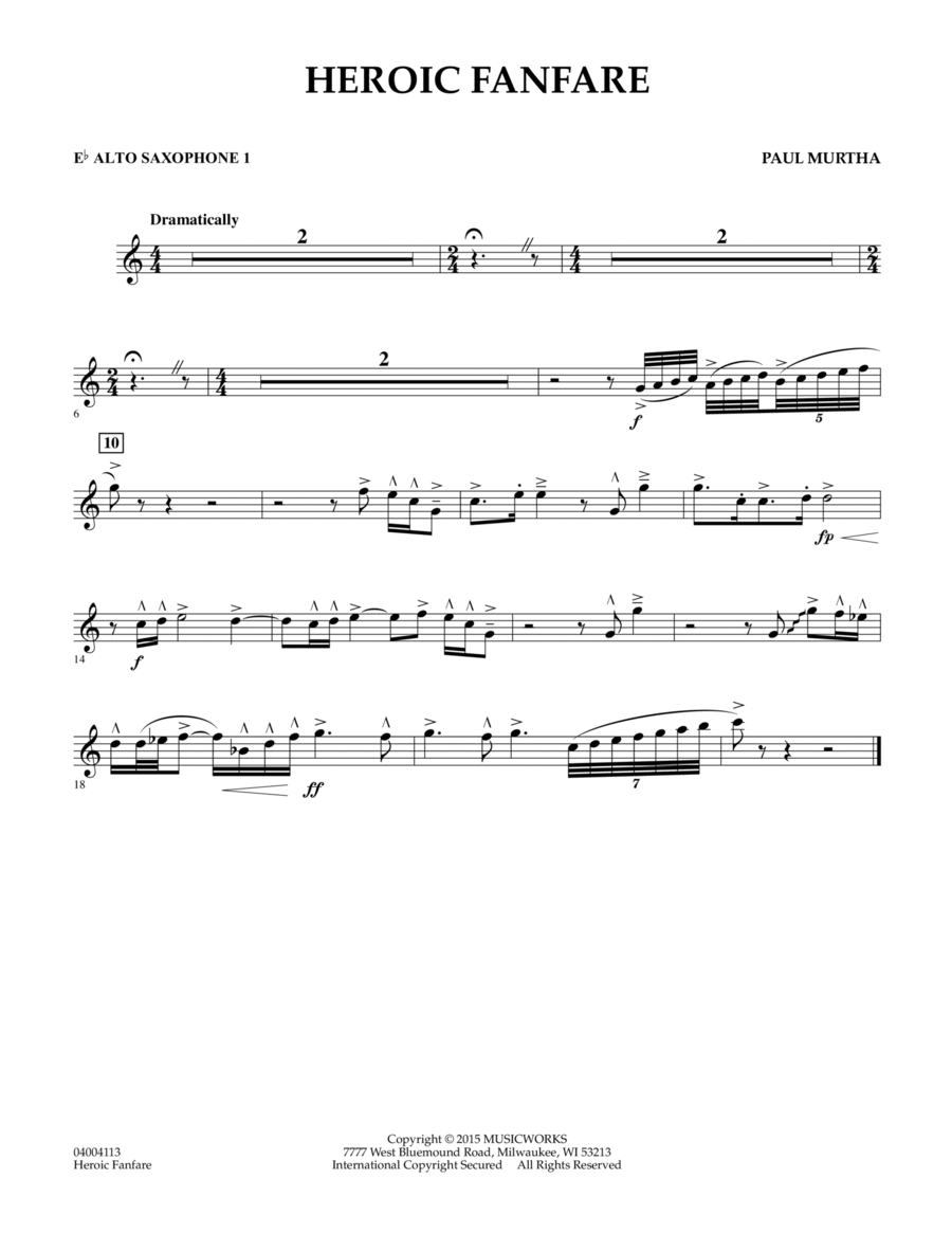 Heroic Fanfare - Eb Alto Saxophone 1