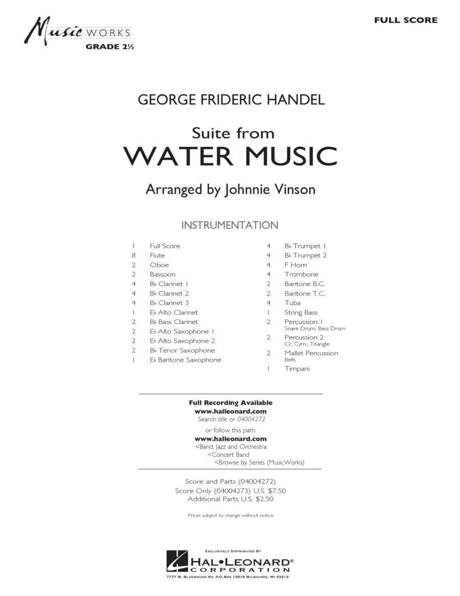 Suite from Water Music - Full Score