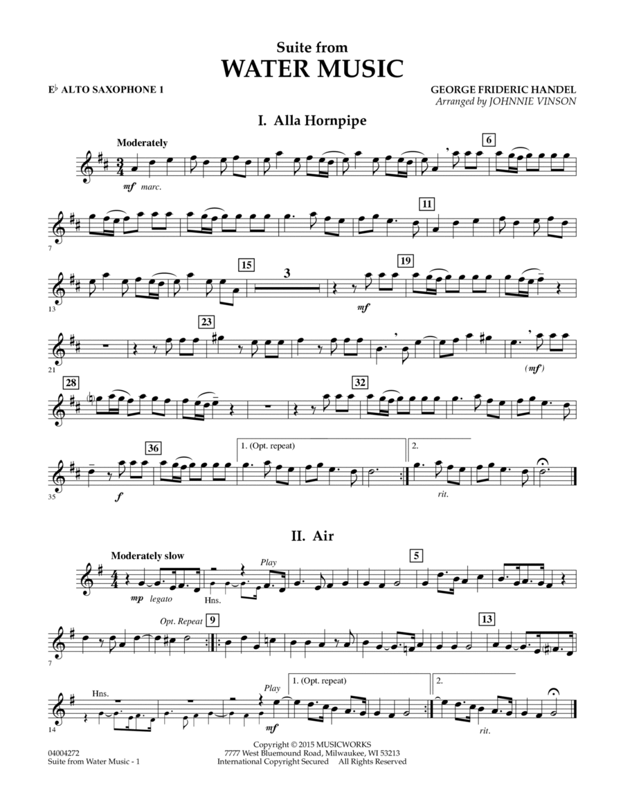 Suite from Water Music - Eb Alto Saxophone 1