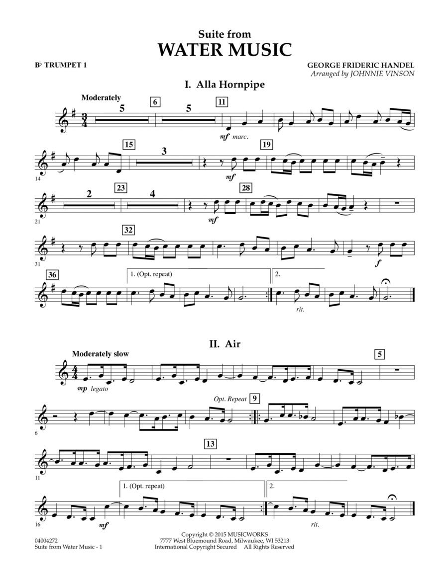 Suite from Water Music - Bb Trumpet 1