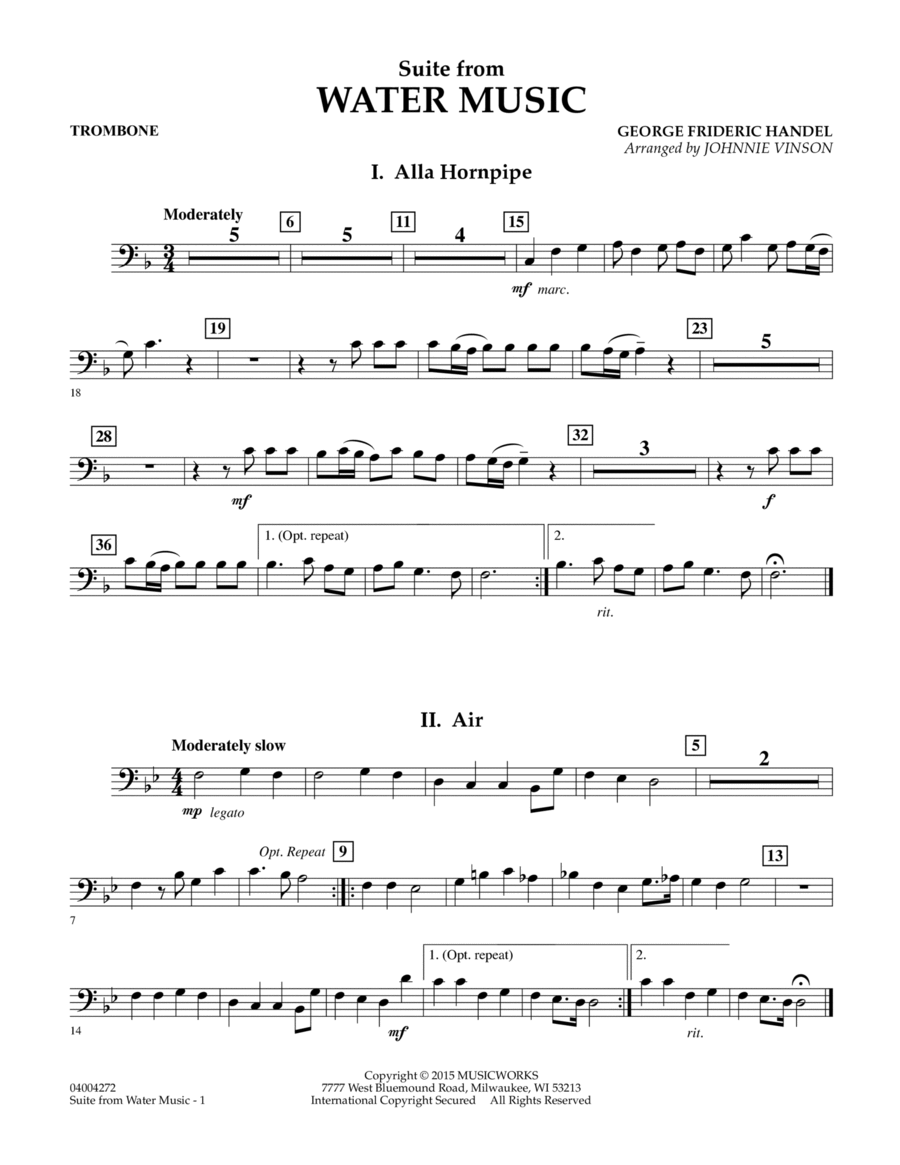 Suite from Water Music - Trombone
