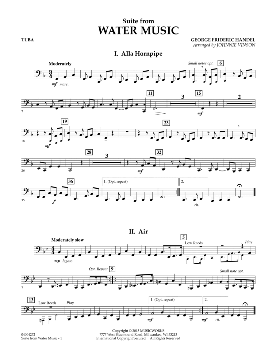 Suite from Water Music - Tuba