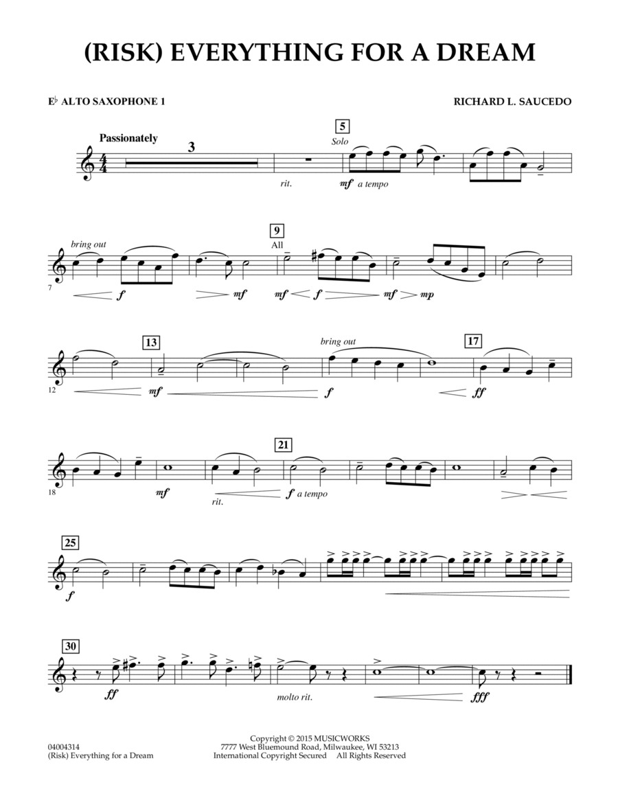 (Risk) Everything for a Dream - Eb Alto Saxophone 1