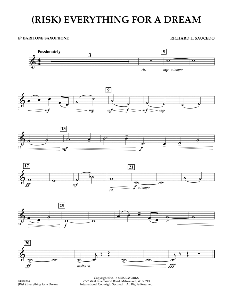 (Risk) Everything for a Dream - Eb Baritone Saxophone