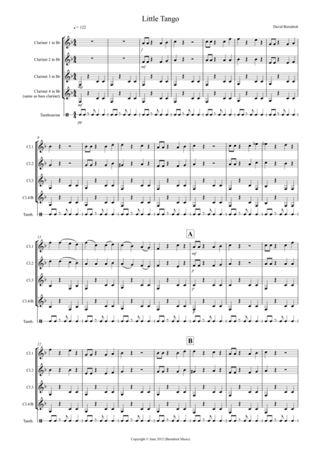 Little Tango for Beginning Clarinet Quartet