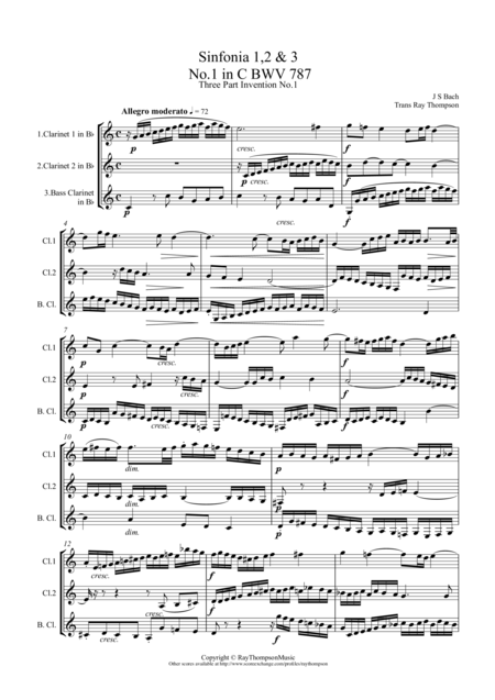 Bach: Sinfonia (Three part Inventions) Nos.1,2 & 3 arr.clarinet trio