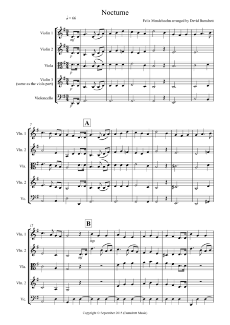 Nocturne (from A Midsummer Night's Dream) for String Quartet