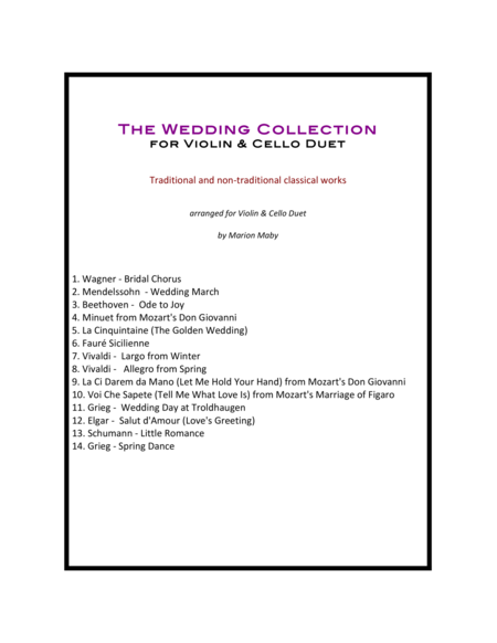 Wedding Collection for Violin & Cello Duet