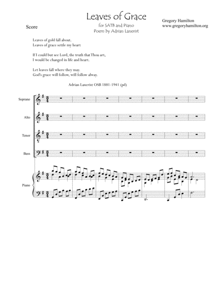 Leaves Of Grace for SATB and Piano