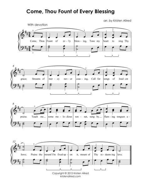 Come, Thou Fount - Easy Piano