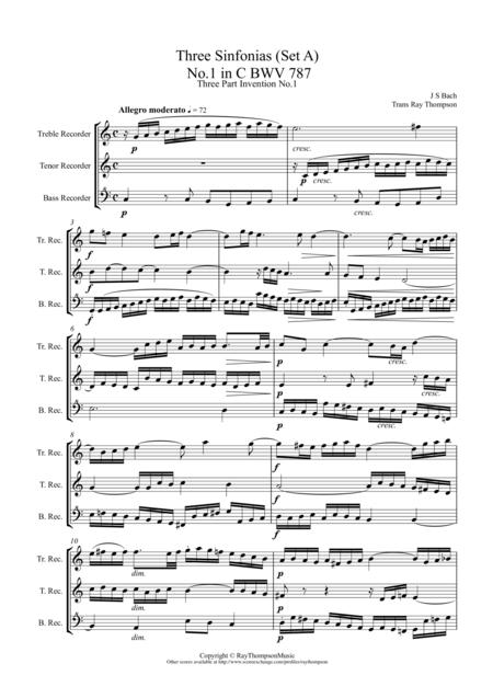 Bach: Sinfonia (Three part Inventions) Nos.1,2 & 3 arr.low recorder trio (TTB/ATB)