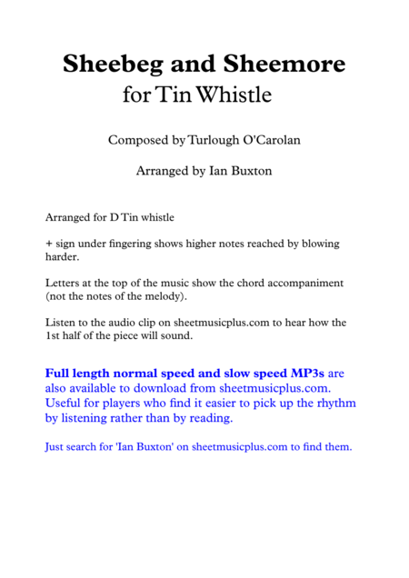 Sheebeg and Sheemore for Tin Whistle with Chords