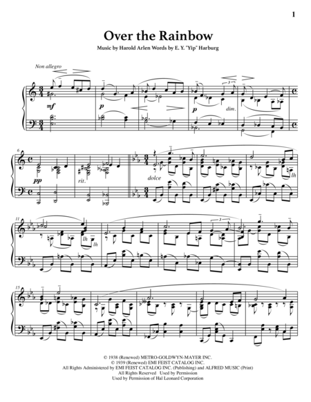 somewhere over the rainbow piano solo pdf