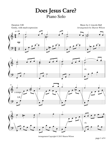 Does Jesus Care? (Piano Solo)