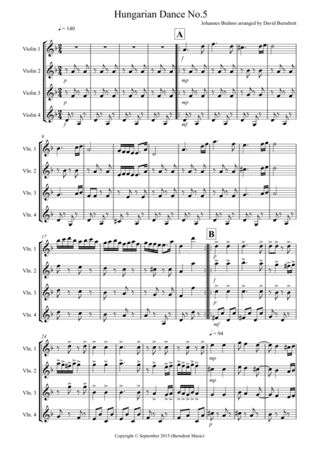 Hungarian dance No.5 for Violin Quartet