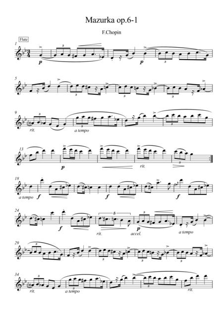 Mazurka Op.6 No.1 piano flute duet