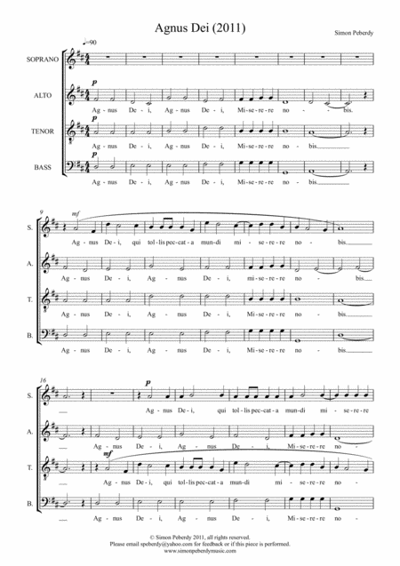 Agnus Dei (in Latin) for SATB choir by Simon Peberdy