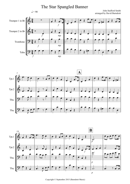 The Star Spangled Banner for Brass Quartet