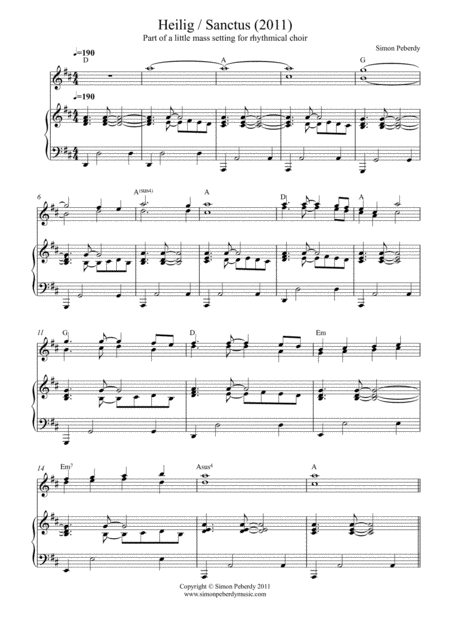 Sanctus / Heilig in D (in German) for SSA, SATB choir, piano & flutes from rhythmical mass by Simon Peberdy