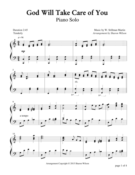 God Will Take Care of You (Piano Solo)