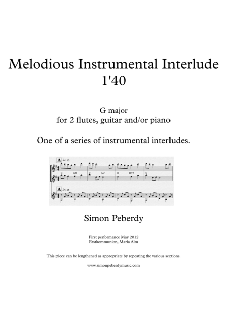 Melodious Instrumental Interlude 1'40 for 2 flutes, guitar and/or piano by Simon Peberdy