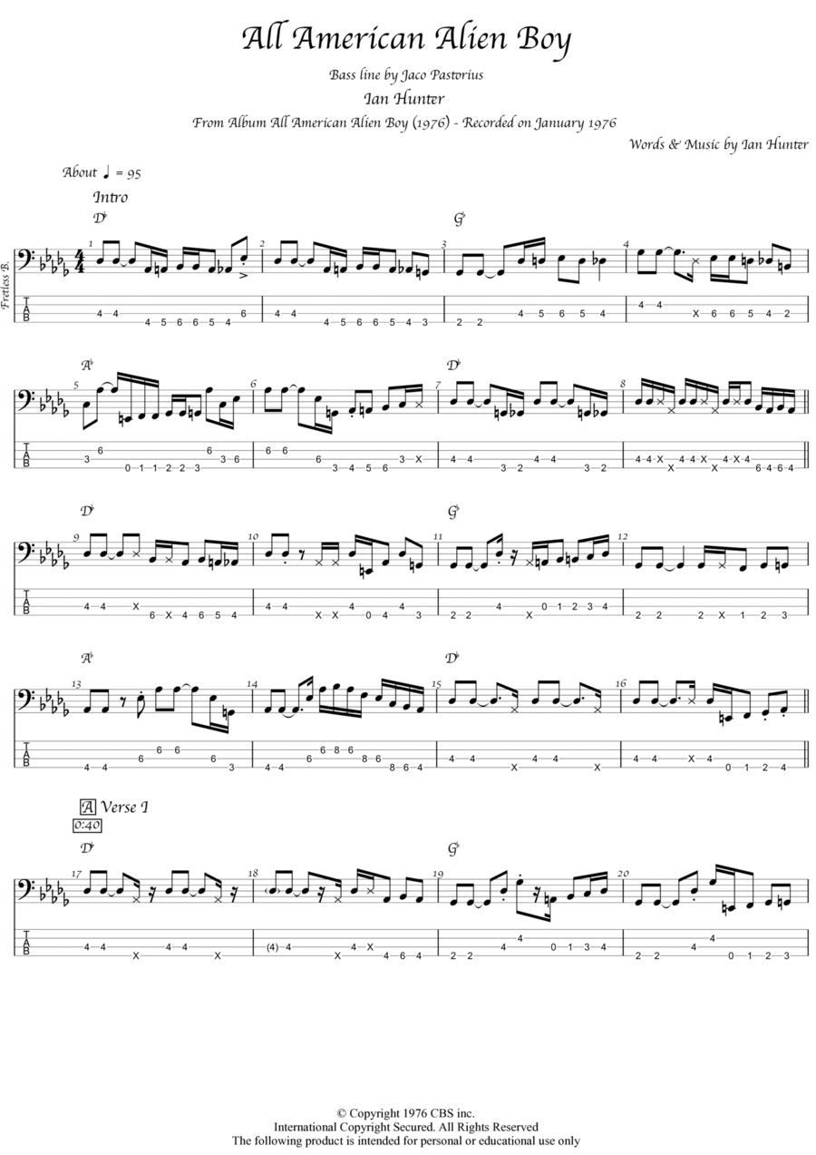 Ian Hunter All american alien boy bass solo (jaco pastorius) transcription