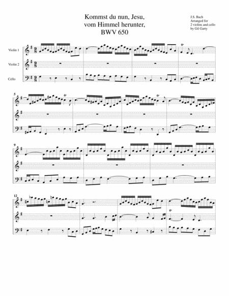 Kommst du nun, Jesu, vom Himmel herunter, BWV 650 (Version for string trio)