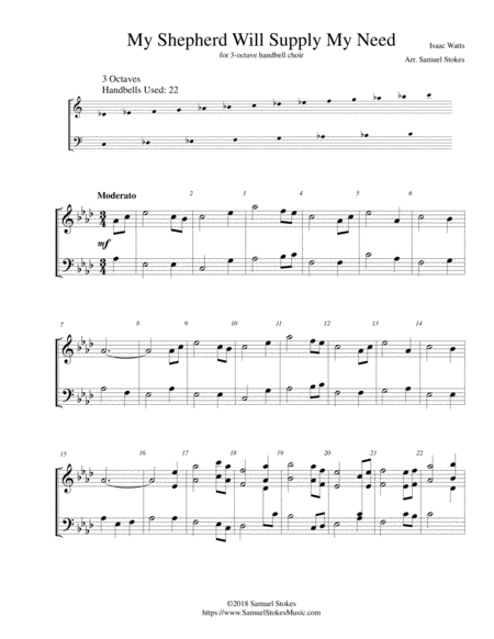 My Shepherd Will Supply My Need - 3-octave handbell choir